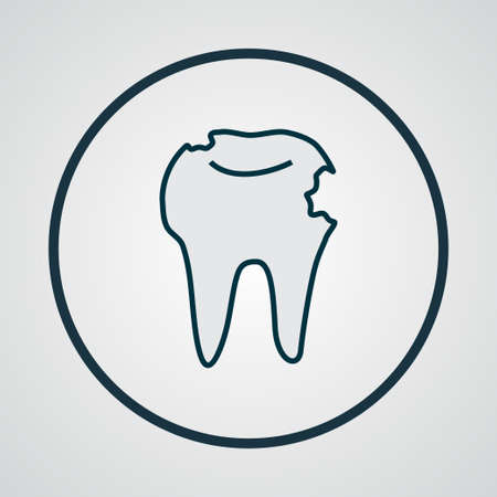 Hole in tooth icon colored line symbol. Premium quality isolated decay element in trendy style.