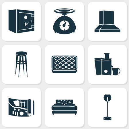 House icons set with floor lamp, safe, kitchen scales and other strongbox