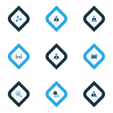 Work icons colored set with upward leveling, remove worker, profit and other network   elements. Isolated vector illustration work icons.
