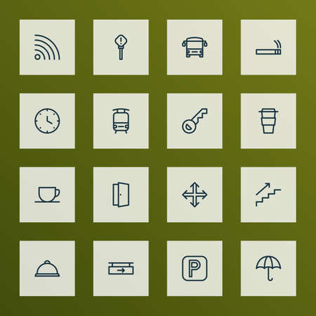 Navigation icons line style set with smoke, door, bus and other hour elements. Isolated vector illustration navigation icons.