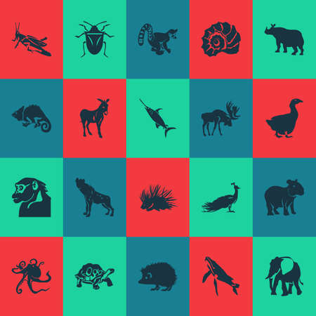 Animal icons set with hyena, porcupine, chamelon and other gorilla   elements. Isolated vector illustration animal icons.