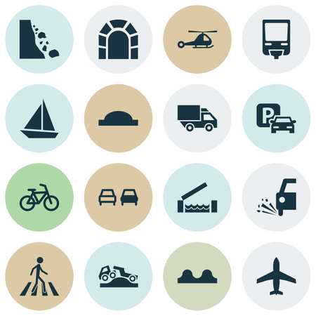 Transport icons set with parking, truck, river and other landslide