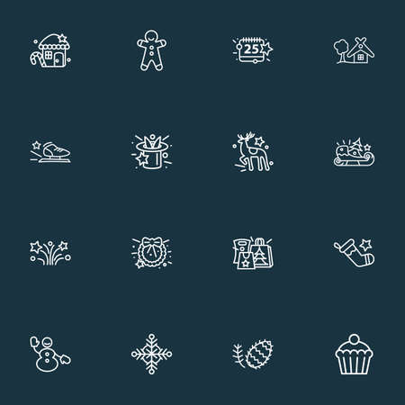 Happy icons line style set with snowman, fir cone, small hut and other merchandise