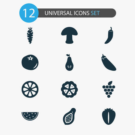 Food icons set with papaya, cocoa beans, grapes and other champignon   elements. Isolated vector illustration food icons.