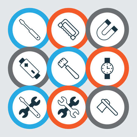 Equipment icons set with magnet, battery, trowel and other carpentry   elements. Isolated  illustration equipment icons.