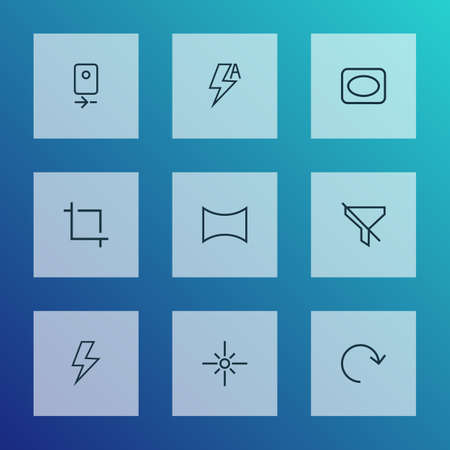 Photo icons line style set with center focus, frame, no filter and other lightning