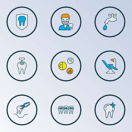 Dental icons colored line set with vitamins, dental fillings, water crane and other stomatology chair