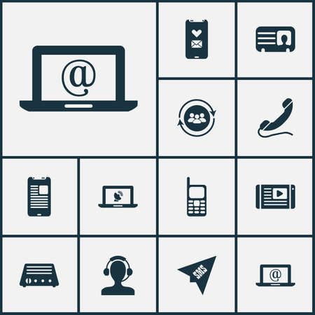 Telecommunication icons set with mail on laptop, article on tv, mobile phone and other origami   elements. Isolated vector illustration telecommunication icons.