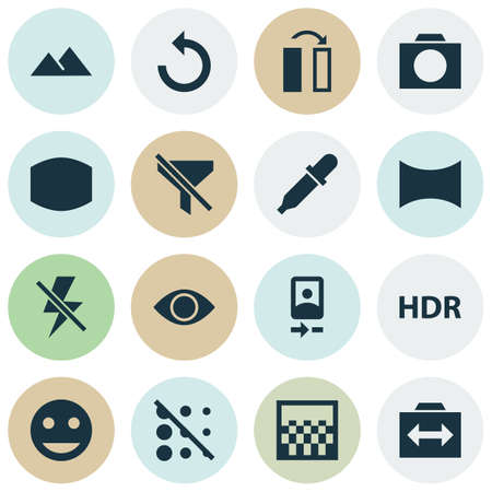 Image icons set with panorama, remove red eye, flip and other high dynamic range  elements. Isolated vector illustration image icons.