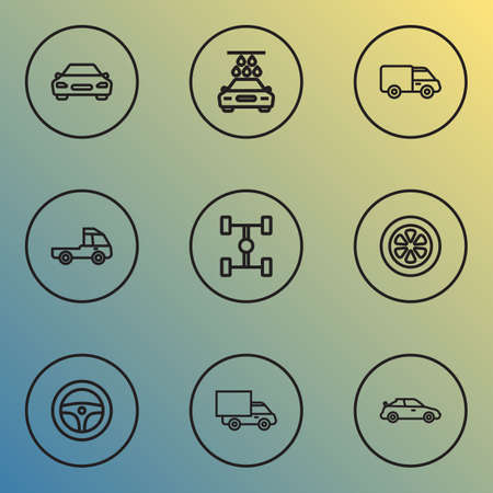 Automobile icons line style set with truck, van, prime-mover and other truck   elements. Isolated vector illustration automobile icons.