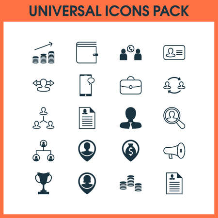 Human icons set with chat, prize, purse and other hierarchy