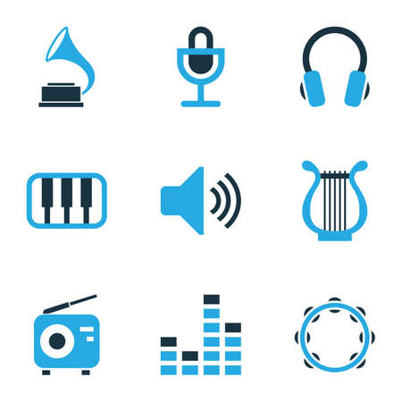 Music icons colored set with sound, lyre, timbrel and other headset elements. Isolated vector illustration music icons.