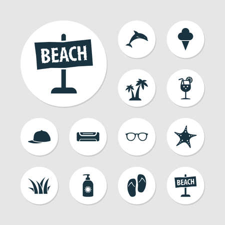Sun icons set with palms, air conditioning, fresh juice and other board
