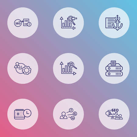 Search icons line style set with marketing analytics, SEO training, events calendar and other file elements. Isolated vector illustration search icons.