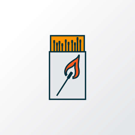 Matchbox icon colored line symbol. Premium quality isolated matches element in trendy style.