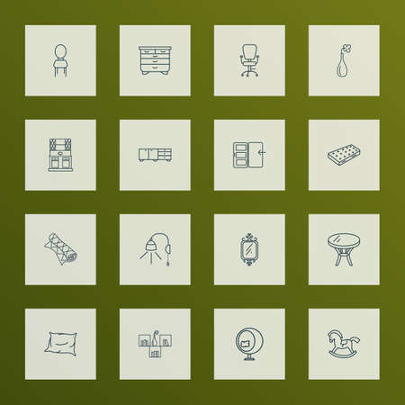Decor icons line style set with rocking horse, seat, coffee table and other bedside table   elements. Isolated vector illustration decor icons. Illustration
