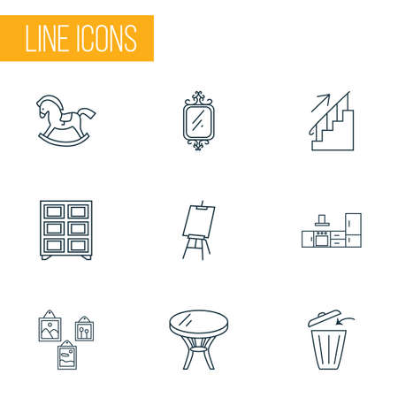 Decor icons line style set with wall mirror, wall picture, shelving unit and other canvas   elements. Isolated vector illustration decor icons.