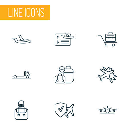 Travel icons line style set with travel insurance, plane crash, extra baggage and other luggage elements. Isolated vector illustration travel icons.