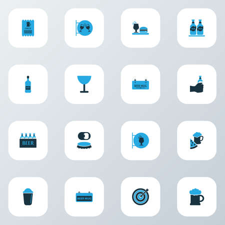 Drink icons colored set with check, shaker, darts and other ale mug elements. Isolated illustration drink icons.