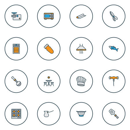 Cook icons colored line set with chef hat, meat grinder, corkscrew and other extractor elements. Isolated vector illustration cook icons.