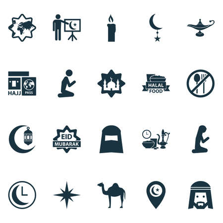 Religion icons set with hijab, muslim, muslim female and other crescent