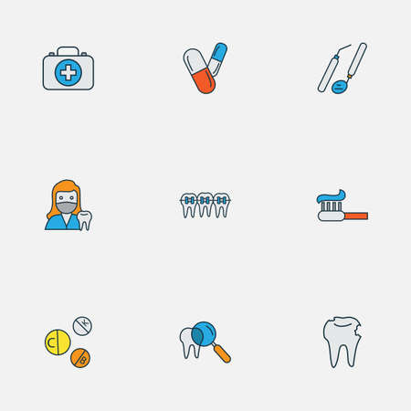 Dental icons colored line set with medicine, toothpaste, braces and other medicine   elements. Isolated vector illustration dental icons.
