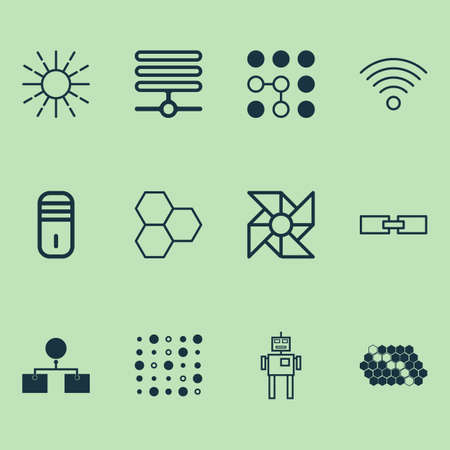 Machine icons set with data pattern, brightness regulation, computer cooler and other mainframe  elements. Isolated vector illustration machine icons. Illusztráció