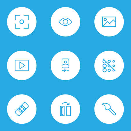 Photo icons line style set with plaster, picture, smartphone and other camera front  elements. Isolated vector illustration photo icons.