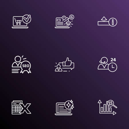 Engine icons line style set with SEO specialist, spreadsheets, fresh content and other uploading elements. Isolated vector illustration engine icons.