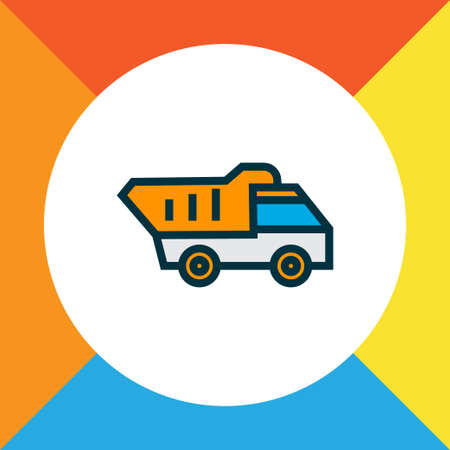 Tipper icon colored line symbol. Premium quality isolated dumper truck element in trendy style.