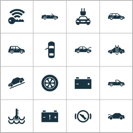 Car icons set with station wagon, hill descent, crossover and other warning elements. Isolated vector illustration car icons.