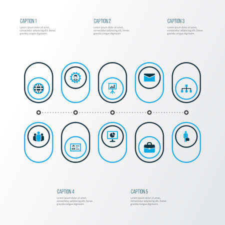 Job icons colored set with engineer, world, presentation board and other team  elements. Isolated vector illustration job icons. Vectores