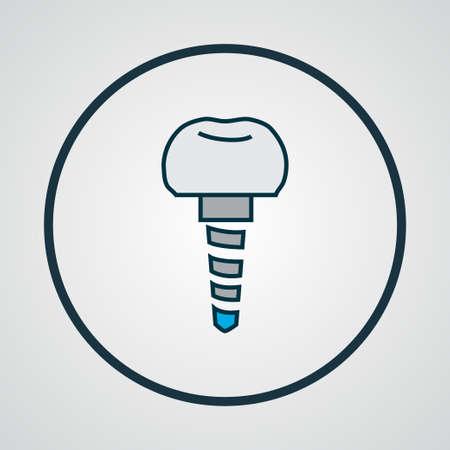 Dental implant icon colored line symbol. Premium quality isolated implantation element in trendy style. Standard-Bild - 123742727