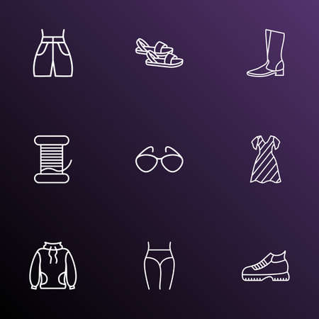Fashion icons line style set with bobbin, high-round collar, boots and other eyeglasses elements. Isolated vector illustration fashion icons.