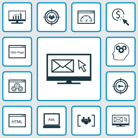 SEO icons set with comprehensive analytics, website optimization, page speed and other loading speed  elements. Isolated vector illustration SEO icons.