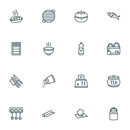 Culinary icons line style set with tomato timer, hot meal, dish dryer and other baking paper  elements. Isolated vector illustration culinary icons. Illustration