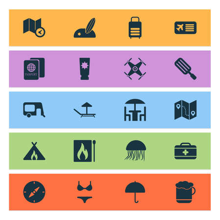 Trip icons set with swimsuit, airplane ticket, compass and other sunbed elements. Isolated vector illustration trip icons.