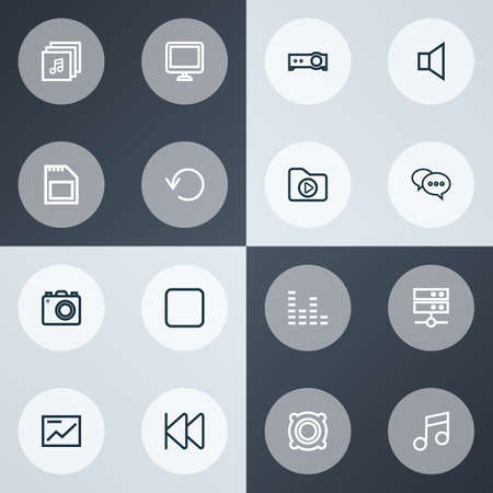 Multimedia icons line style set with albums, mute, previous and other music   elements. Isolated vector illustration multimedia icons.