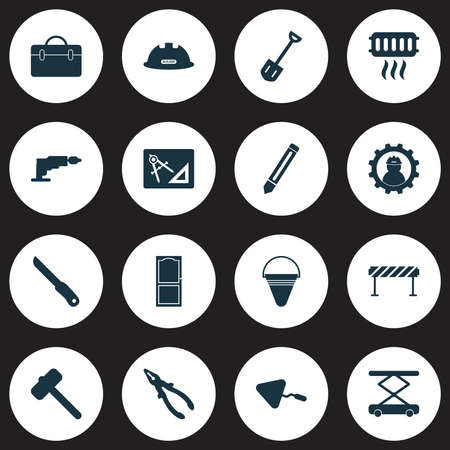 Industry icons set with door, case, shovel and other approach