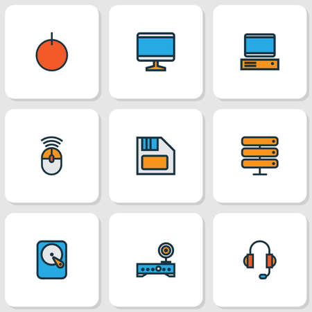 Computer icons colored line set with start button, wifi modem, computer and other PC  elements. Isolated vector illustration computer icons.
