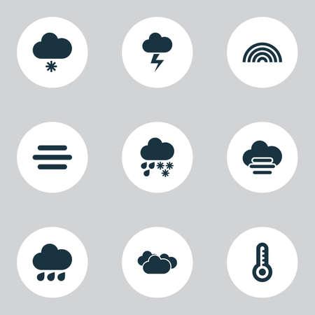 Iconos del tiempo con lluvia ligera de nieve, niebla, elementos sinópticos brumosos y nublados. Iconos aislados del tiempo de la ilustración del vector.