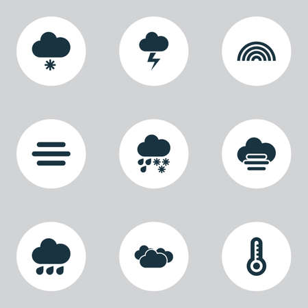 Weather icons set with light snow shower, fog, misty and cloudy synoptic elements. Isolated vector illustration weather icons.