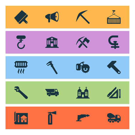 Construction icons set with putty knife, hammer, horn and other drill  elements. Isolated vector illustration construction icons.