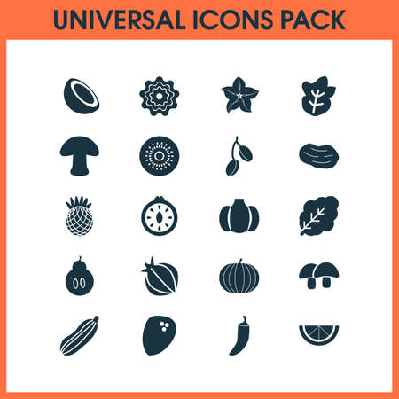 Food icons set with acorn, pineapple, barberry and other tuber  elements. Isolated vector illustration food icons. Illustration
