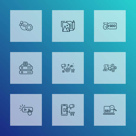Engine icons line style set with search optimization, marketing research, portfolio and other productivity  elements. Isolated vector illustration engine icons.