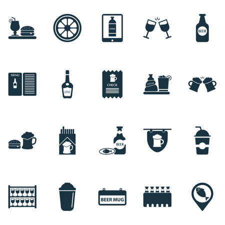 Alcohol icons set with case of beer, hanging banner, cognac and other chacha with ice   elements. Isolated vector illustration alcohol icons. Illustration