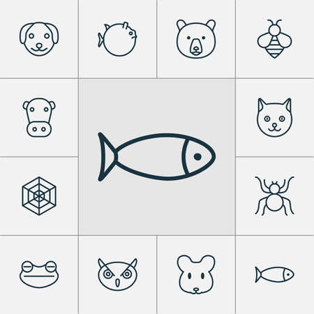 Nature icons set with arachnid, spider web, globefish and other toad  elements. Isolated vector illustration nature icons.