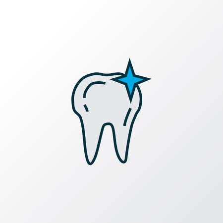 Clean tooth icon colored line symbol. Premium quality isolated cleaned element in trendy style. Illusztráció