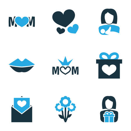 Mothers day icon colored design concept. Set of 9 such elements as present, flower and design. Beautiful symbols for mother, present and mom.