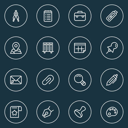 Tool icons line style set with pencil, pin, case and other cutter
